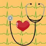 Estetoscópio e coração em um amarelo Imagens de Stock Royalty Free