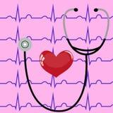 Estetoscópio e coração em um fundo e em um ECG cor-de-rosa ilustração do vetor