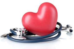 Estetoscópio e coração médicos Fotos de Stock Royalty Free