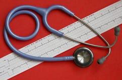 Estetoscópio e ECG Foto de Stock