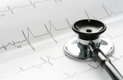 Estetoscópio e EKG Foto de Stock