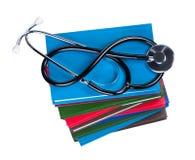 Estetoscópio médico em livros. Imagem de Stock Royalty Free
