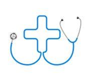 Estetoscópio na forma da cruz médica Imagens de Stock Royalty Free