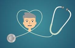 Estetoscópio na forma do coração Imagem de Stock