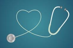 Estetoscópio na forma do coração Fotos de Stock Royalty Free