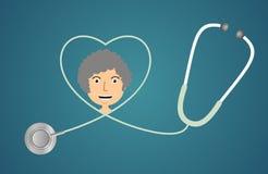 Estetoscópio na forma do coração Foto de Stock