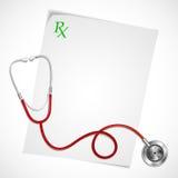 Estetoscópio na prescrição ilustração stock