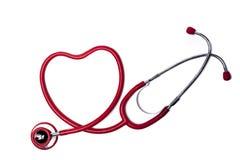 Estetoscópio vermelho do coração foto de stock royalty free