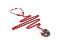estetoscópio vermelho rendido 3d isolado sobre o branco ilustração royalty free