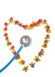 Estetoscopio con dimensión de una variable del corazón. imagen de archivo libre de regalías