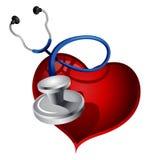 Estetoscopio con el corazón Fotos de archivo libres de regalías