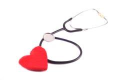 Estetoscopio con el corazón Fotografía de archivo