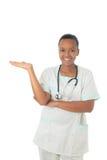 Estetoscopio del negro de la enfermera del doctor del afroamericano Imagen de archivo libre de regalías
