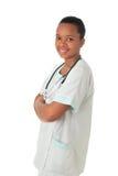 Estetoscopio del negro de la enfermera del doctor del afroamericano Fotografía de archivo