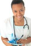 Estetoscopio del negro de la enfermera del doctor del afroamericano Fotos de archivo libres de regalías