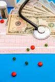 Estetoscopio en la hoja del cardiograma con los billetes de dólar y píldoras en b Imagen de archivo