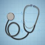 Estetoscopio médico realista fondo con el equipamiento médico del estetoscopio, concepto de la atención sanitaria ilustración del vector