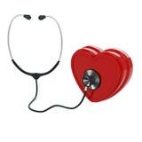 Estetoscopio y corazón Fotografía de archivo