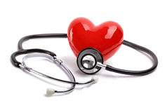 Estetoscopio y corazón Foto de archivo