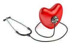 Estetoscopio y corazón rojo Imágenes de archivo libres de regalías