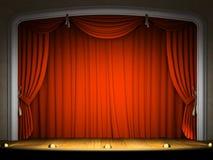 Estágio vazio com cortina vermelha Fotografia de Stock