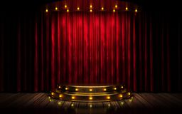Estágio vermelho da cortina Fotos de Stock Royalty Free