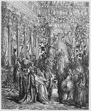 Esther before the King. Picture from The Holy Scriptures, Old and New Testaments books collection published in 1885, Stuttgart-Germany. Drawings by Gustave vector illustration