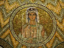 Esther, mosaic, Church of Hagia Maria Zion, Jerusalem. Esther, mosaic, Church of Hagia Maria Zion-The Dormition Church, Jerusalem stock image