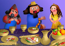 Esthers Banquet - Feast of Purim. A cartoon illustration depicting queen Esthers banquet with the Persian king Ahasuerus and Haman. Haman is very distressed as Stock Image