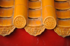 Esthetic of asia architecture on baked clay roof Royalty Free Stock Photo