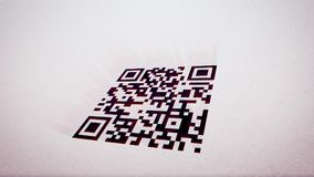 Avangard QR code scanner illustration. Esthetic 3d rendering of an abstract QR code scanner turned askew. The black and white code is put in the center in the Stock Image