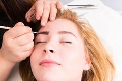 Esthetician Grooming Eyebrows des weiblichen Kunden Stockfotos