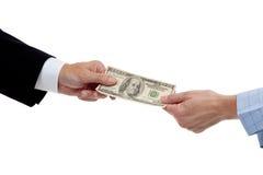Esticando um dólar Fotografia de Stock Royalty Free