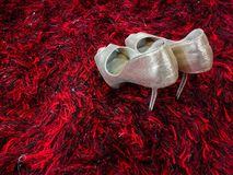Estilete brillante de plata de los zapatos de tacón alto en la alfombra roja fotos de archivo libres de regalías