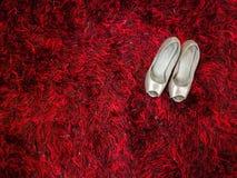 Estilete brillante de plata de los zapatos de tacón alto en la alfombra roja fotografía de archivo