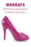 Estilete cor-de-rosa do salto alto com provérbio engraçado foto de stock royalty free
