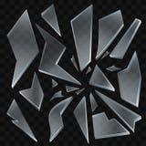 Estilhaços de vidro quebrados - clipart isolado realístico do vetor moderno ilustração do vetor