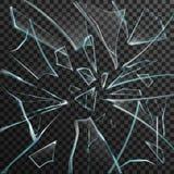Estilhaços realísticos do vidro quebrado transparente Imagens de Stock