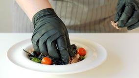 Estilista de la comida que arregla las pastas del italiano de la tinta del calamar almacen de metraje de vídeo