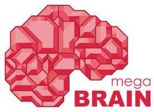 Estilizado del cerebro humano, vista lateral Logotipo de la mente/icono, plantilla del vector stock de ilustración