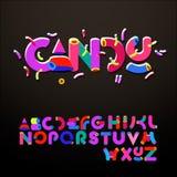 Estilizado doce-como alfabetos Fotografia de Stock