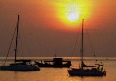 Estilo abstracto de la pintura de aceite del fondo del barco y de la puesta del sol Fotos de archivo
