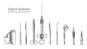 Estilo ajustado do vintage do desenho da mão do equipamento cirúrgico Fotos de Stock Royalty Free