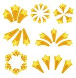 Estilo ajustado dos desenhos animados do ícone da explosão das estrelas Os fogos-de-artifício amarelos da explosão da estrela, pi Foto de Stock Royalty Free