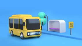 Estilo amarelo 3d dos desenhos animados da parada do ônibus-ônibus que rende o transporte do conceito da cidade ilustração stock