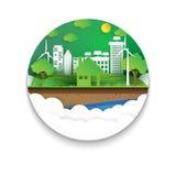 Estilo amistoso del arte del papel de concepto de Eco stock de ilustración