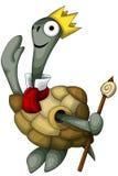 Estilo animal de la historieta del carácter del rey de la corona de la tortuga  Foto de archivo libre de regalías
