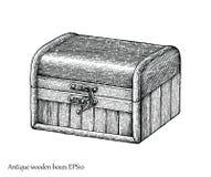 Estilo antigo da gravura do desenho da mão das caixas de madeira Fotografia de Stock Royalty Free