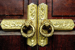 Estilo antiguo del vintage del oro de la puerta Imágenes de archivo libres de regalías