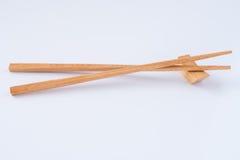 Estilo asiático chino japonés de bambú de madera del palillo en el fondo blanco Foto de archivo libre de regalías